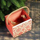 """Кашпо деревянное """"Снежинки"""", ручка- шнур, 12,5х10,5х9,5см, фото 2"""