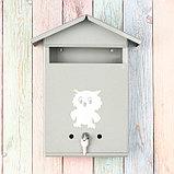 Ящик почтовый с замком, вертикальный, «Домик», серый, фото 2
