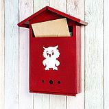 Ящик почтовый с замком, вертикальный, «Домик», вишнёвый, фото 2