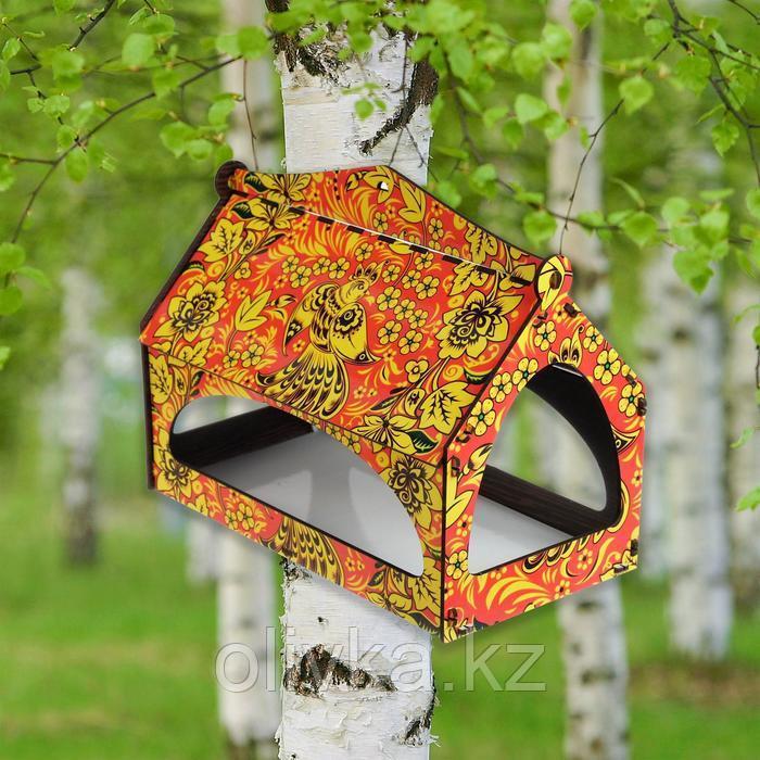 """Кормушка высокая """"Хохлома листва"""", цветная, 25×20×15 см"""