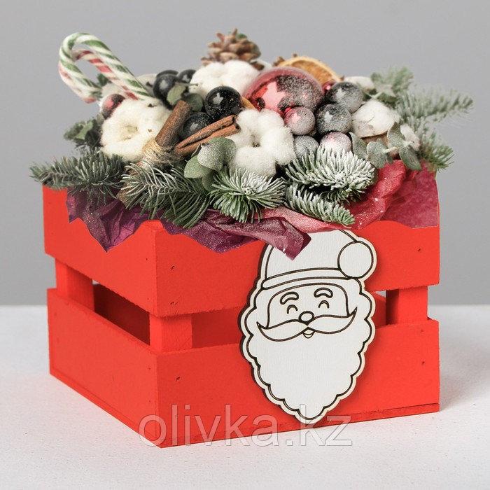 Деревянный ящик реечный «Дед Мороз», 13 × 13 × 9 см, с декором