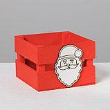 Деревянный ящик реечный «Дед Мороз», 13 × 13 × 9 см, с декором, фото 2