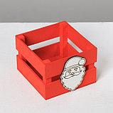 Деревянный ящик реечный «Дед Мороз», 13 × 13 × 9 см, с декором, фото 4