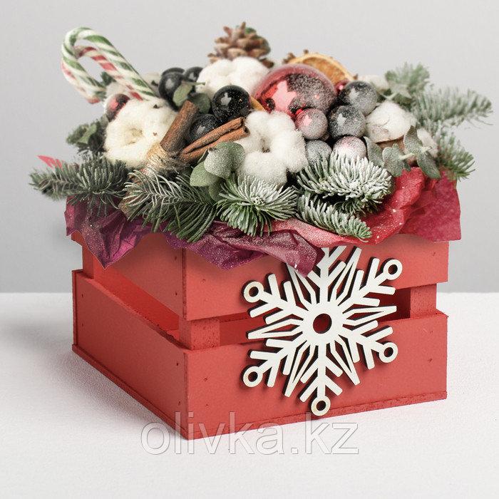 Деревянный ящик реечный «Снежинка», 13 × 13 × 9 см, с декором