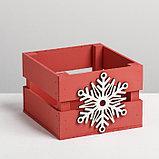 Деревянный ящик реечный «Снежинка», 13 × 13 × 9 см, с декором, фото 2