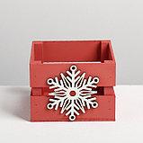 Деревянный ящик реечный «Снежинка», 13 × 13 × 9 см, с декором, фото 3
