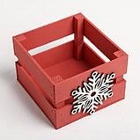 Деревянный ящик реечный «Снежинка», 13 × 13 × 9 см, с декором, фото 4