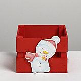 Деревянный ящик реечный «Снеговик», 13 × 13 × 9 см, с декором, фото 3