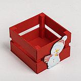 Деревянный ящик реечный «Снеговик», 13 × 13 × 9 см, с декором, фото 4