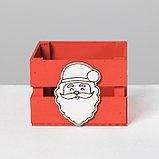 Деревянный ящик реечный «Дед Мороз», 13 × 13 × 9 см, с декором, фото 3