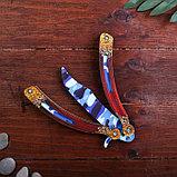 Сувенир деревянный «Нож бабочка, синий камуфляж», фото 2