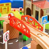 Железная дорога, 108 элементов, стол в комплекте, фото 7