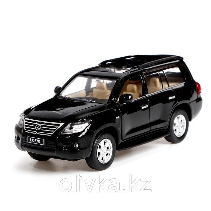 Машина металлическая Lexus LX570, открываются двери, багажник, инерция, цвет чёрный