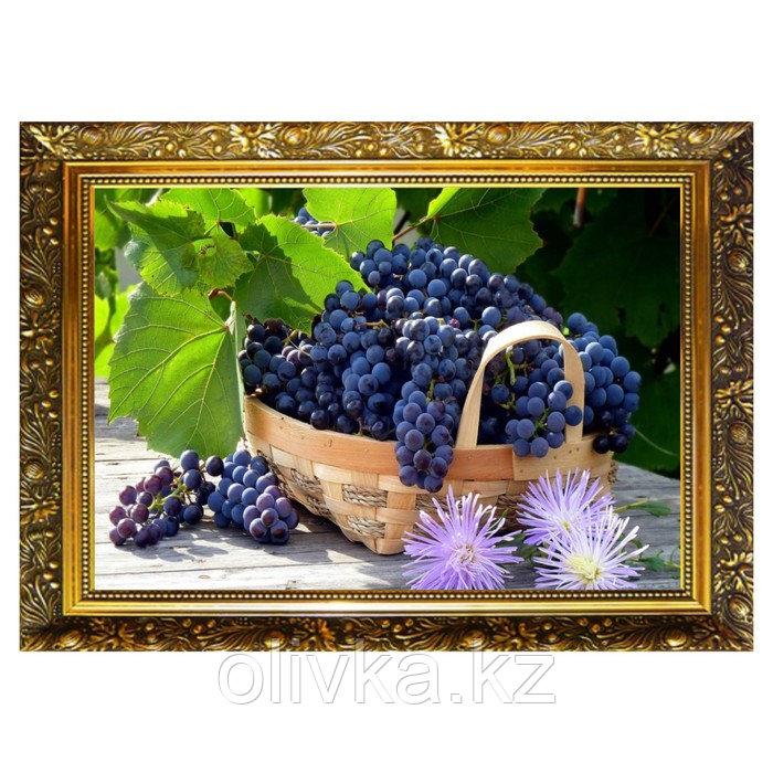 "Алмазная мозаика ""Корзинка винограда"" 29,5×20,5 см, 25 цветов"