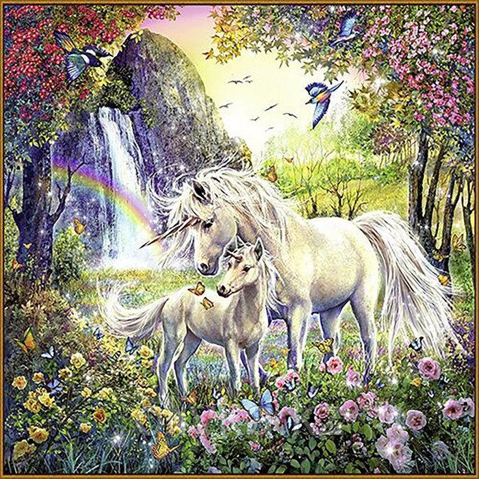 Алмазная мозаика «Единороги», 50 × 50 см, 35 цветов