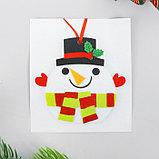 Набор для творчества - создай ёлочное украшение из фетра «Снеговичок в шапочке», фото 3