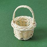 Миниатюра кукольная - корзинка, цвет белый, фото 2