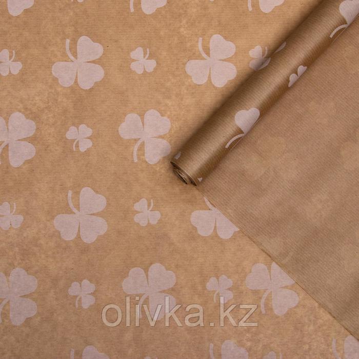 """Бумага упаковочная крафт """"Цветок белый"""", 0,72 х 10 м, 50 г"""