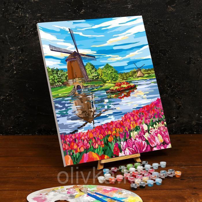 Картина по номерам на холсте с подрамником «Ветряная мельница» 40×50 см