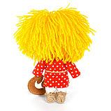 """Набор для изготовления игрушки из льна и хлопка с волосами из пряжи """"Домовёнок"""", 15,5 см, фото 2"""