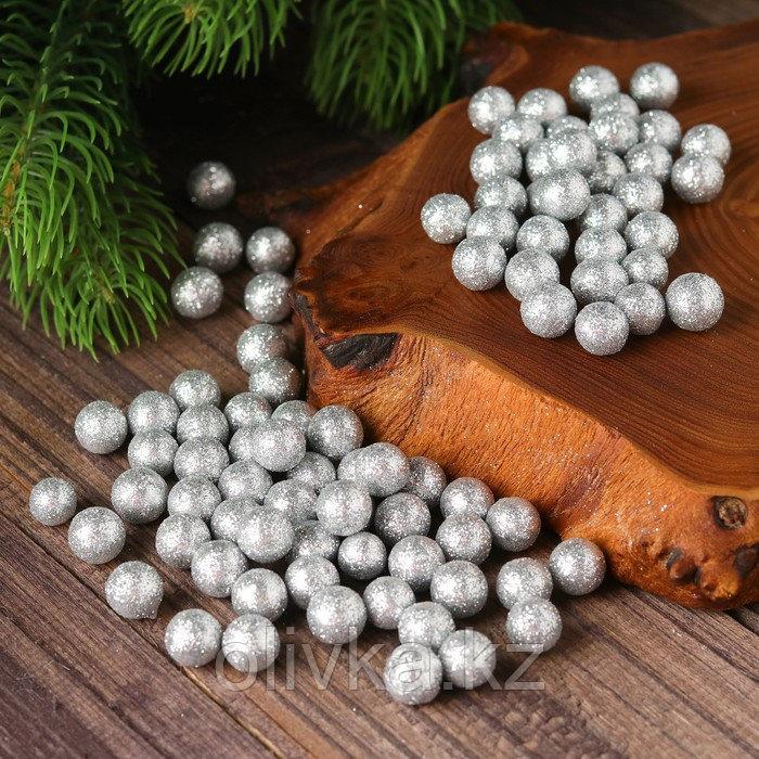 "Фигурка для поделок и декора ""Шар"", набор 80 шт., размер 1 шт. 0,5 см, цвет серебро"