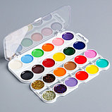 Акварель 20 цветов + 4 цвета с блёстками, «Смешарики», карамельная, без кисти, фото 2