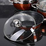 Набор посуды «Сан», 4 предмета: кастрюли 5,1/3,2 л, ковш 1,6 л, сотейник с антипригарным покрытием 3,4 л, фото 6