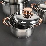 Набор посуды «Голден», 4 предмета: 2 л, 3 л, 5 л, 6 л, капсульное дно, индукция, фото 2