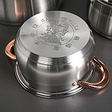 Набор посуды «Голден», 4 предмета: 2 л, 3 л, 5 л, 6 л, капсульное дно, индукция, фото 4