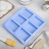 Форма для выпечки Доляна «Прямоугольник», 23,5×21,5 см, 6 ячеек (5,8×8,2 см), цвет МИКС, фото 3