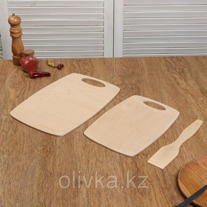 """Набор досок разделочных деревянных """"Бочонок"""", (2 шт + лопатка) ручка вырез, 0,6 см"""