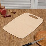 """Набор досок разделочных деревянных """"Бочонок"""", (2 шт + лопатка) ручка вырез, 0,6 см, фото 2"""