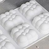 Форма для муссовых десертов и выпечки Доляна «Облачко», 30×18,8 см, 6 ячеек, цвет белый, фото 2