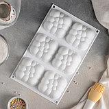 Форма для муссовых десертов и выпечки Доляна «Облачко», 30×18,8 см, 6 ячеек, цвет белый, фото 3