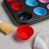 Форма для выпечки «Силикон плюс», 35х26,5х2,5 см, 12 ячеек, силиконовые вкладки, антипригарное покрытие, цвет, фото 2