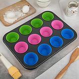 Форма для выпечки «Силикон плюс», 35х26,5х2,5 см, 12 ячеек, силиконовые вкладки, антипригарное покрытие, цвет, фото 5