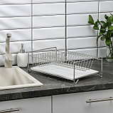 Сушилка для посуды с поддоном, 40×23×15 см, цвет хром, фото 2