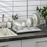 Сушилка для посуды с поддоном, 40×23×15 см, цвет хром, фото 3