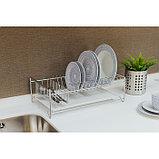 Сушилка для посуды с поддоном, 40×23×15 см, цвет хром, фото 4