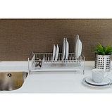 Сушилка для посуды с поддоном, 40×23×15 см, цвет хром, фото 5
