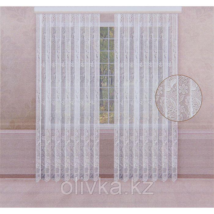 Комплект штор со шторной лентой, ширина 170 см, высота 250 см-2шт., цвет белый