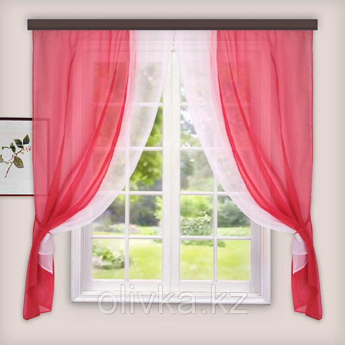 Комплект штор для кухни «Лидия», 250х160 см, цвет красный