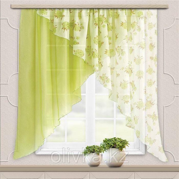 Комплект штор для кухни «Марианна», размер 300х160 см, цвет зелёный