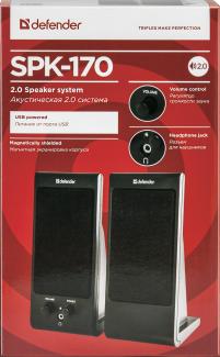 Колонки стерео Defender SPK-170 Черные USB. Современные компьютерные колонки с разъемом для наушнико - фото 2