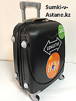 Маленький пластиковый дорожный чемодан Longstar на 4-х колесах.Высота 53 см, ширина 33 см, глубина 22 см.