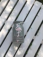 Керамическая ваза,цвет серый , рисунок с фламинго,22 см