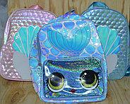 021 Рюкзак большой рисунок ракушки и рыбки 35*26, фото 2