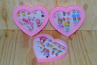 D17-034 Набор для девочек заколки, колечки и сережки клипсы, пони в форме сердечка  15*14, фото 1