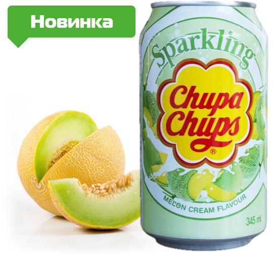 Напиток Chupa Chups Sparkling Дыня 345ml Корея (24шт-упак)