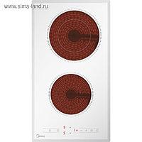 Варочная поверхность Midea MCH32329FW, электрическая, 2 конфорки, сенсор, белое стекло